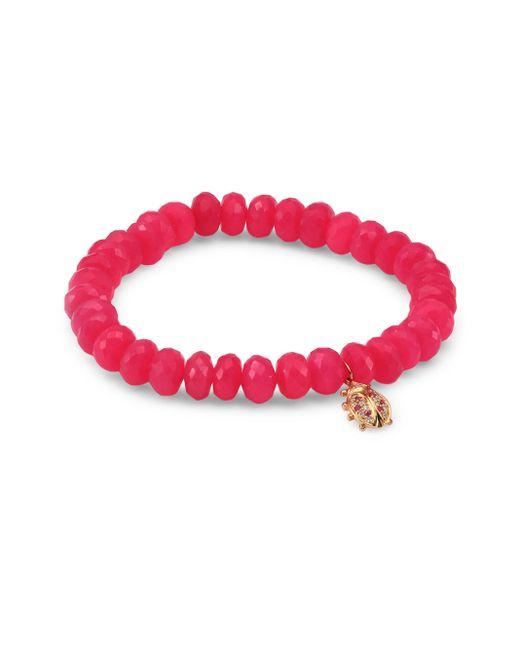 Sydney Evan | Multicolor Medium Ladybug Diamond, Ruby & Hot Pink Chalcedony Beaded Bracelet | Lyst
