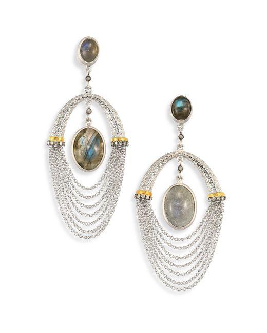 Coomi   Metallic Spring Labradorite, Diamond & Sterling Siler Drop Earrings   Lyst