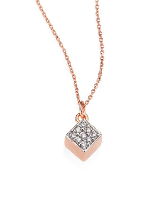 Ginette NY | Metallic Ever Mini Diamond & 18k Rose Gold Square Pendant Necklace | Lyst
