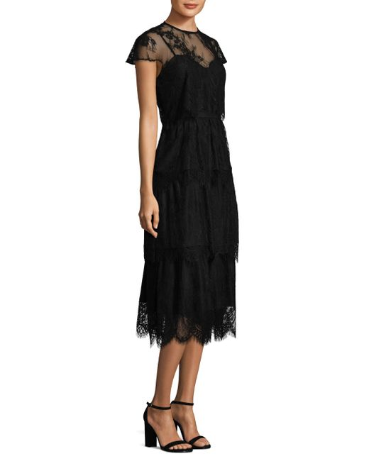 Parker Black | Black Elasa Embroidered Lace Dress | Lyst