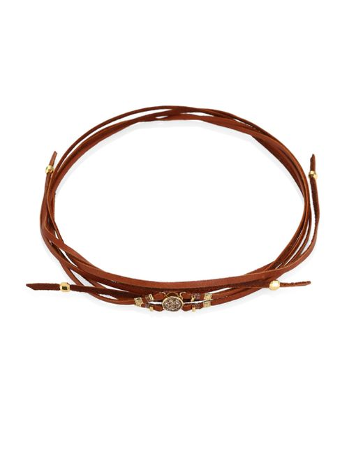 Chan Luu | Brown Rose Gold Agate & Leather Choker | Lyst