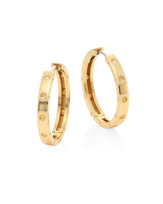 Roberto Coin | Metallic Symphony 18k Yellow Gold Hoop Earrings/0.75 | Lyst
