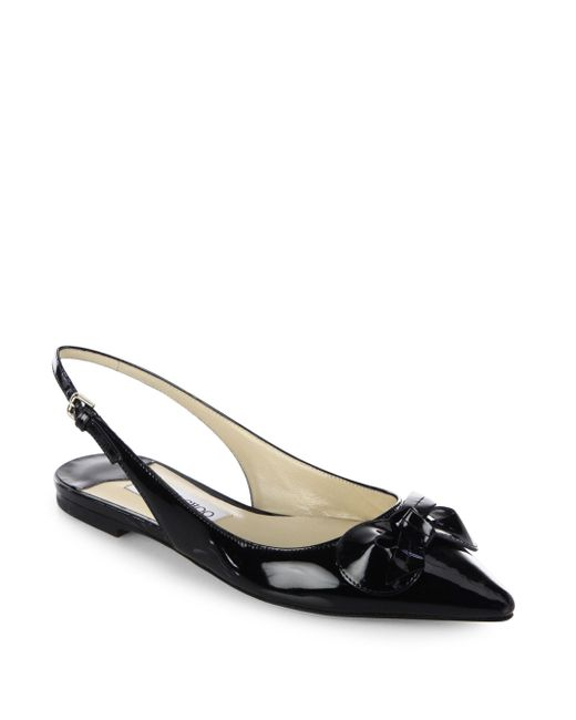 Jimmy Choo | Black Blare Patent Leather Slingback Flats | Lyst