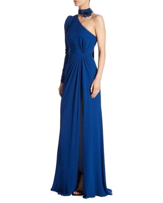 Elie Saab   Blue One Shoulder Silk Gown   Lyst