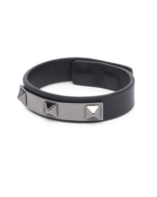 Valentino   Black Leather Studded Bracelet   Lyst