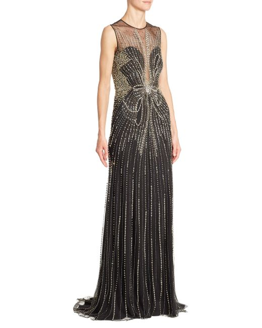 Jenny Packham | Black Beaded Illusion Gown | Lyst