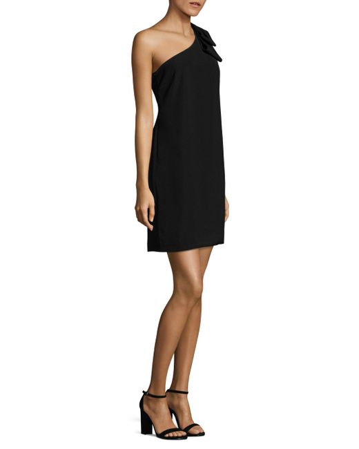 Laundry by Shelli Segal | Black One-shoulder Bow-detailed Dress | Lyst