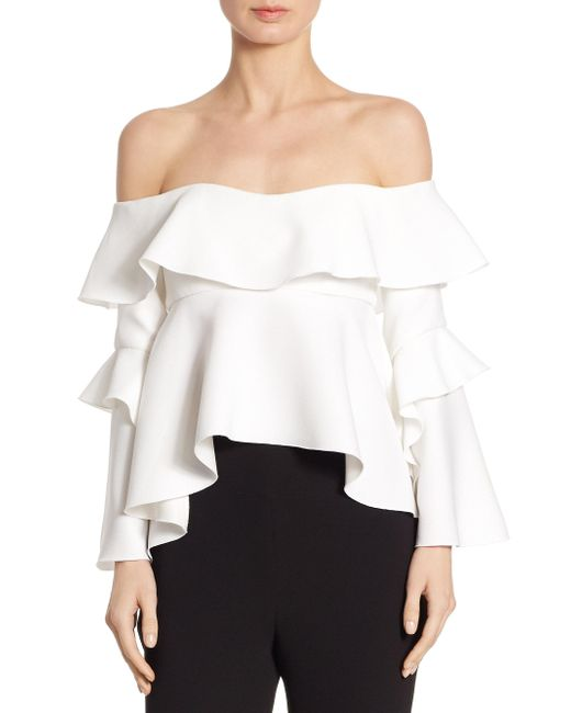 Nicholas   White Crepe Off-the-shoulder Frill Top   Lyst
