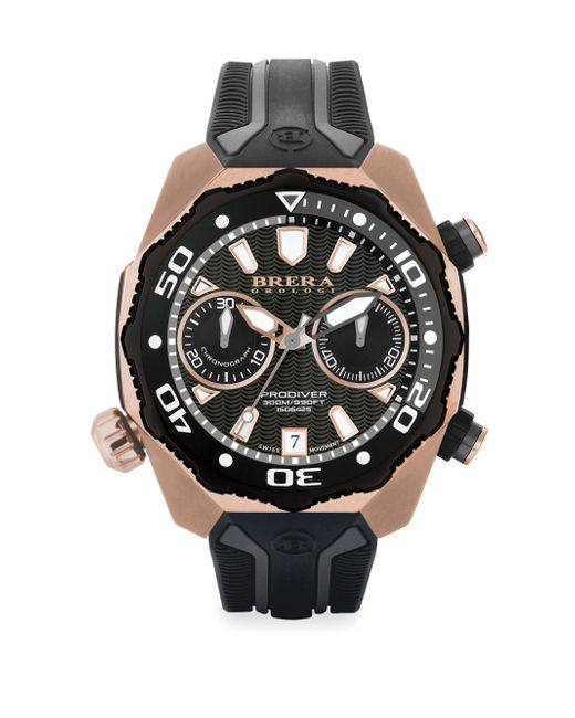 Brera Orologi | Metallic Pro Diver Rose Goldtone Stainless Steel & Rubber Strap Watch for Men | Lyst