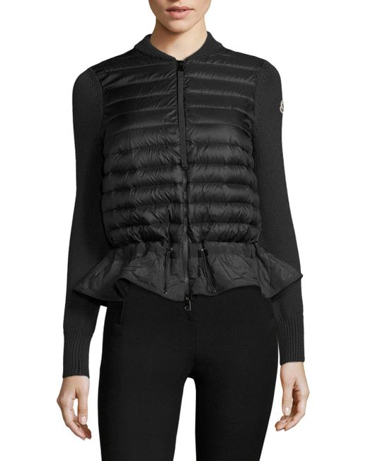 Moncler   Black Maglione Knit Peplum Jacket   Lyst