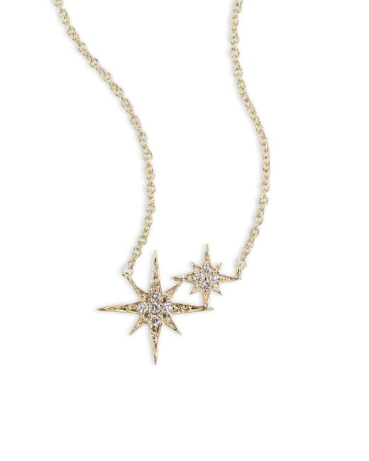 Sydney Evan | Metallic Double Starburst Diamond & 14k Yellow Gold Necklace | Lyst