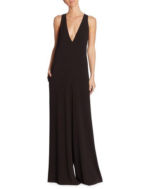 Halston Heritage | Black Back Sash Sleeveless Jumpsuit | Lyst