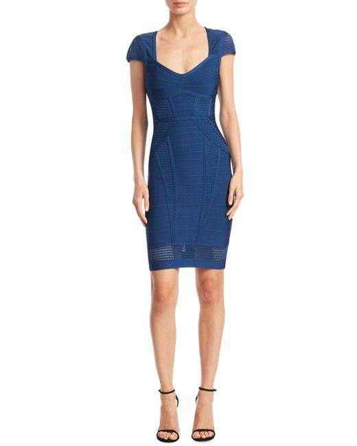 Hervé Léger | Blue Elena Crochet Dress | Lyst
