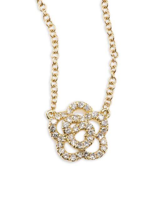 EF Collection   Metallic Rose Diamond & 14k Yellow Gold Pendant Necklace   Lyst