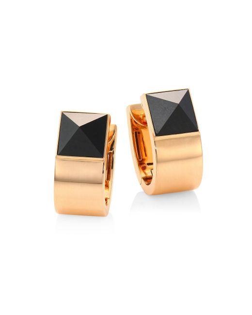 Roberto Coin | Metallic Prive Pyramid Black Jade & 18k Rose Gold Earrings | Lyst