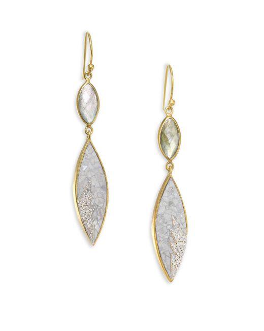 Shana Gulati | Metallic Rani Sukanya Sliced Raw Diamond & Labradorite Drop Earrings | Lyst