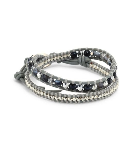 Chan Luu | Gray Grey Banded Agate Mix Double-wrap Bracelet | Lyst