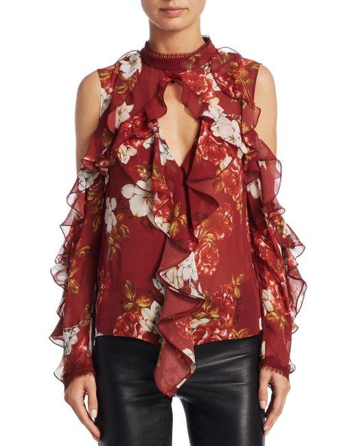 Nicholas | Red Celeste Cold Shoulder Silk Top | Lyst