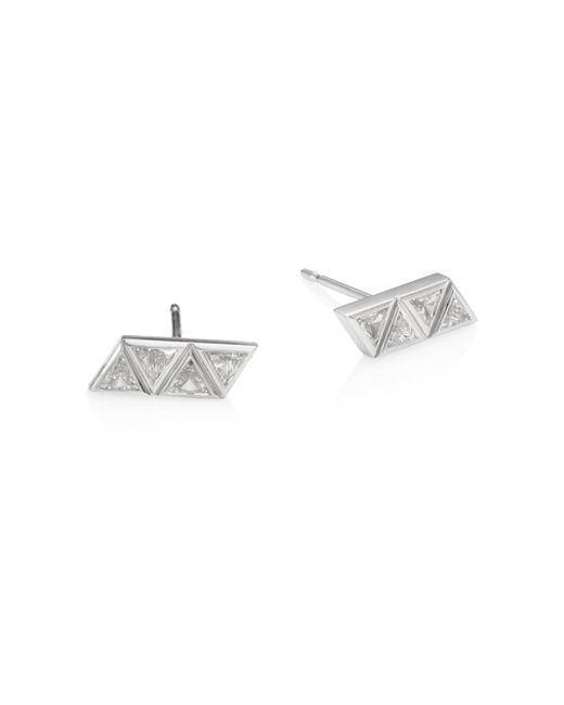 Melissa Kaye | Metallic Chloe Diamond & 18k White Gold Stud Earrings | Lyst
