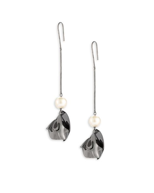 Elizabeth and James | Metallic Posy 7mm White Pearl Drop Earrings | Lyst