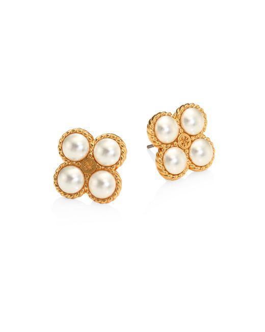 Tory Burch | Metallic Rope Clover Faux-pearl Stud Earrings | Lyst