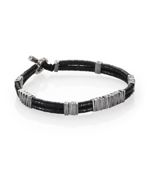 M. Cohen | Metallic Two-strand Carved Silver Beaded Bracelet | Lyst