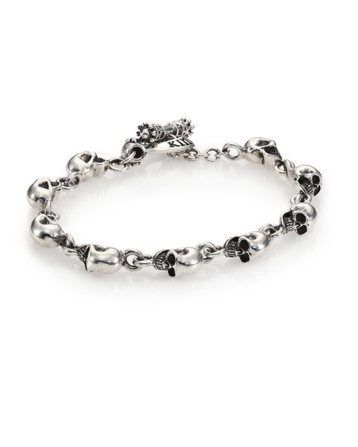 King Baby Studio | Metallic Sterling Silver Skull Link Bracelet for Men | Lyst