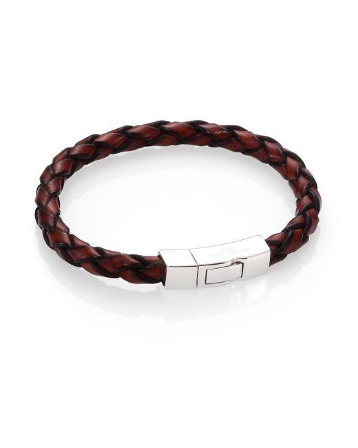 Tateossian | Brown Scoubidou Braided Leather Bracelet for Men | Lyst