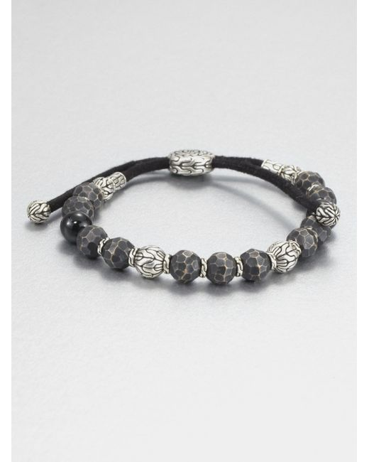 John Hardy | Metallic Black Tourmaline, Sterling Silver And Black Bronze Bead Bracelet for Men | Lyst