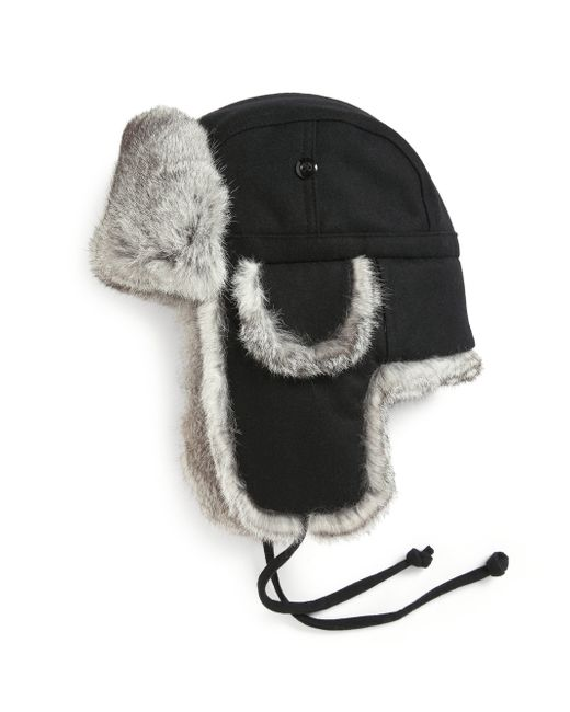 Crown Cap | Gray Real Rabbit Fur Lined Bomber Hat | Lyst