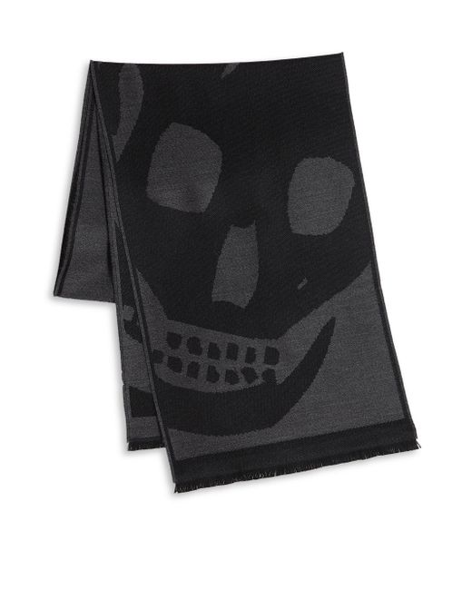 Alexander McQueen | Black Wool Oversized Skull Scarf for Men | Lyst