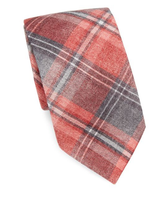 Isaia | Red Large Plaid-print Wool & Silk Tie for Men | Lyst