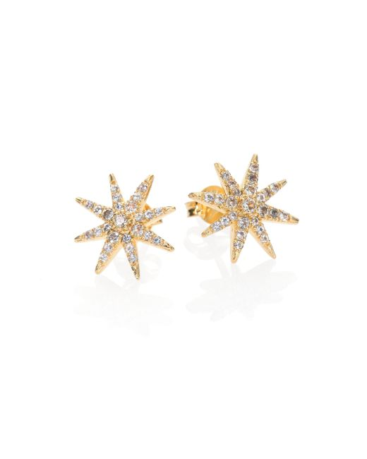 Elizabeth and James | Metallic Compass Rose Pave White Topaz Stud Earrings | Lyst