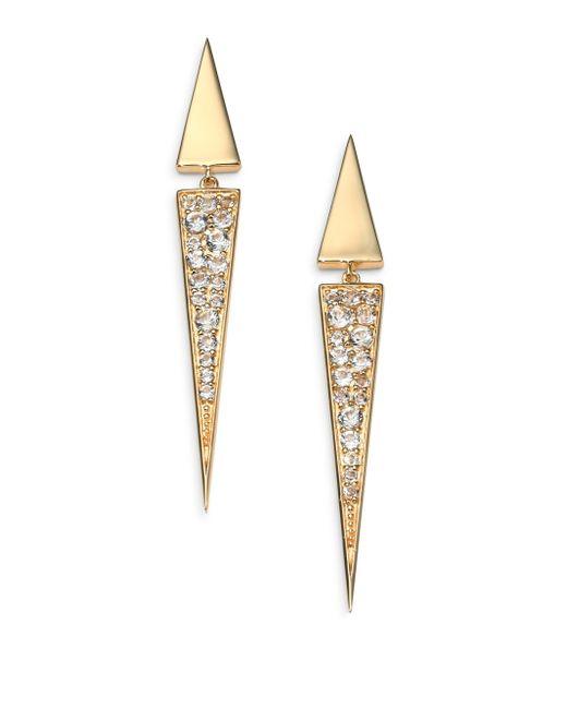 Elizabeth and James | Metallic Iten Pave White Topaz Drop Earrings | Lyst