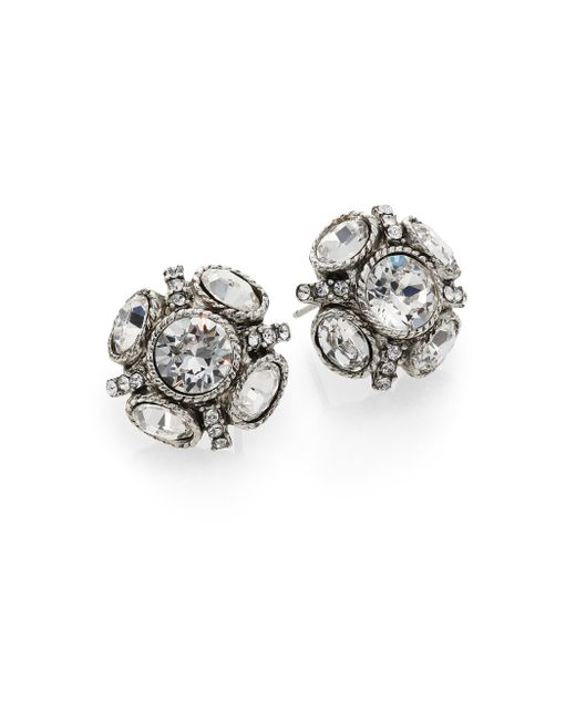 Oscar de la Renta | White Classic Crystal Button Earrings | Lyst