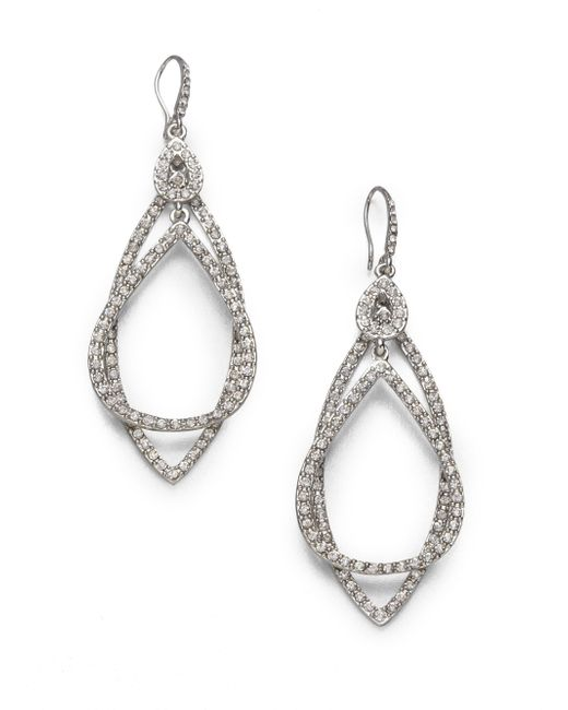 ABS By Allen Schwartz | Metallic Pave Double Loop Earrings | Lyst