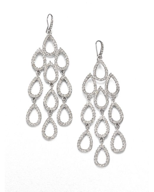 ABS By Allen Schwartz | Metallic Pave Chandelier Earrings | Lyst