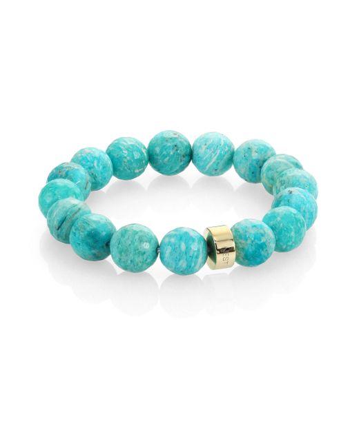 Nest | Blue Amazonite Logo Beaded Stretch Bracelet | Lyst