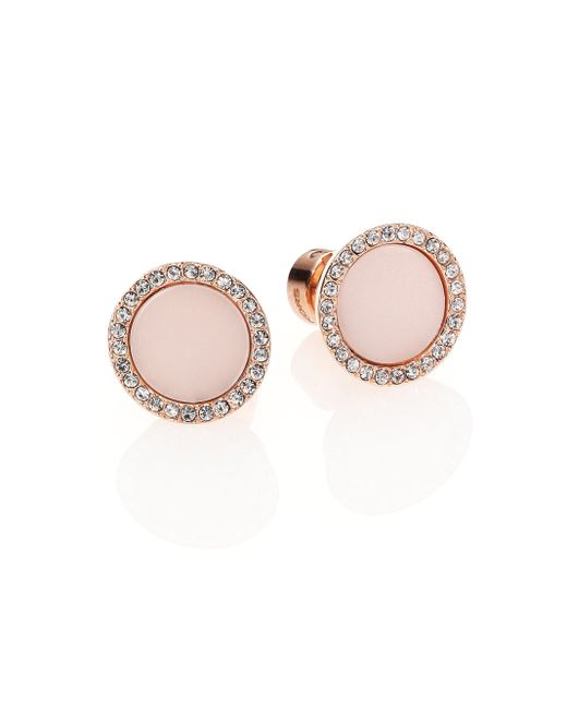 Michael Kors | Pink Rose & Blush Pave Stud Earrings | Lyst