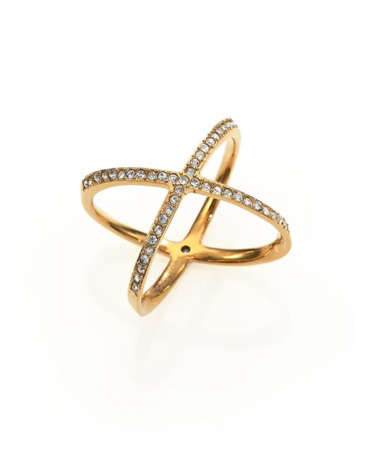Michael Kors | Metallic Brilliance Statement Pave X Ring/goldtone | Lyst