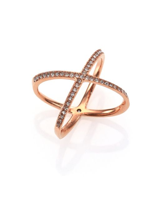 Michael Kors | Metallic Brilliance Statement Pave X Ring/rose Goldtone | Lyst