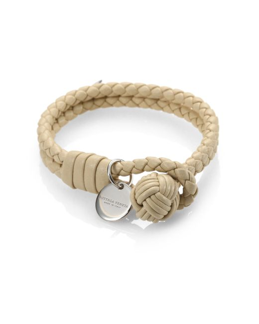 Bottega Veneta | White Intrecciato Leather Double-row Wrap Bracelet | Lyst