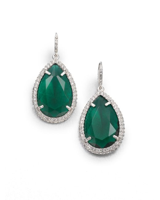 ABS By Allen Schwartz | Green Faceted Drop Earrings | Lyst