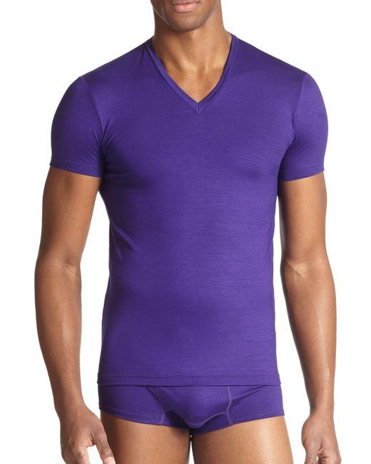 DSquared² | Purple Slim Fit Jersey V-neck Tee for Men | Lyst
