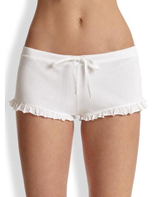 Skin | White Ruffle Drawstring Shorts | Lyst