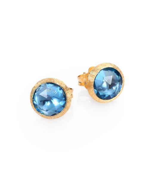 Marco Bicego | Jaipur Blue Topaz & 18k Yellow Gold Stud Earrings | Lyst