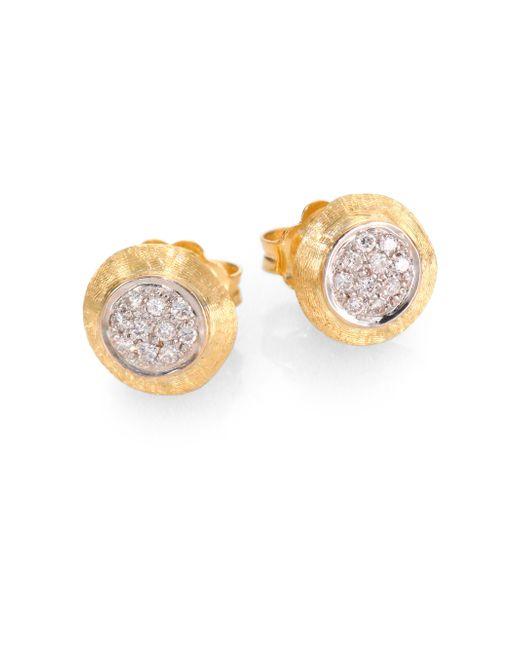 Marco Bicego | Metallic Delicati Diamond, 18k Yellow & White Gold Stud Earrings | Lyst