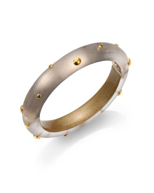 Alexis Bittar | Gray Studded Lucite Bangle Bracelet/gold | Lyst