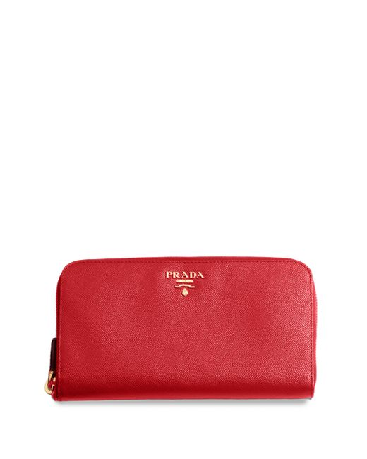 Prada | Red Saffiano Metal Oro Wallet | Lyst