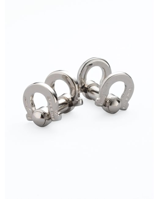 Ferragamo | Metallic Flip Gancini Cuff Links for Men | Lyst